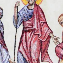 Mosè è raffigurato nella festa della prima Pasqua in atteggiamento simile a quello di Gesù risorto