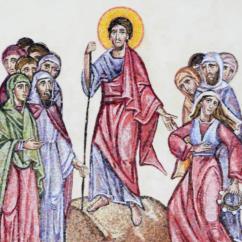 Mosè è posto su una altura con due gruppi di popolo, in totale undici