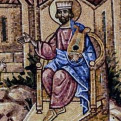 Il Re Davide, mentre con una mano regge una cetra, riceve la profezia